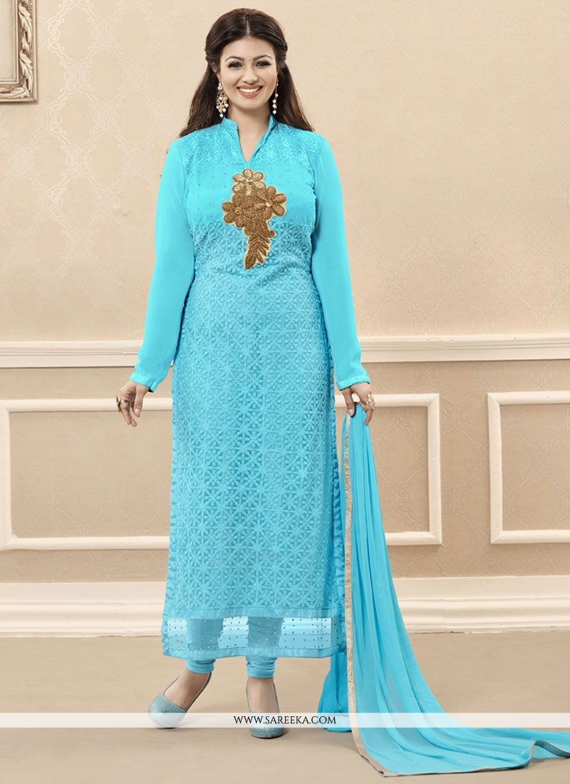 Georgette Turquoise Embroidered Work Designer Straight Salwar Kameez