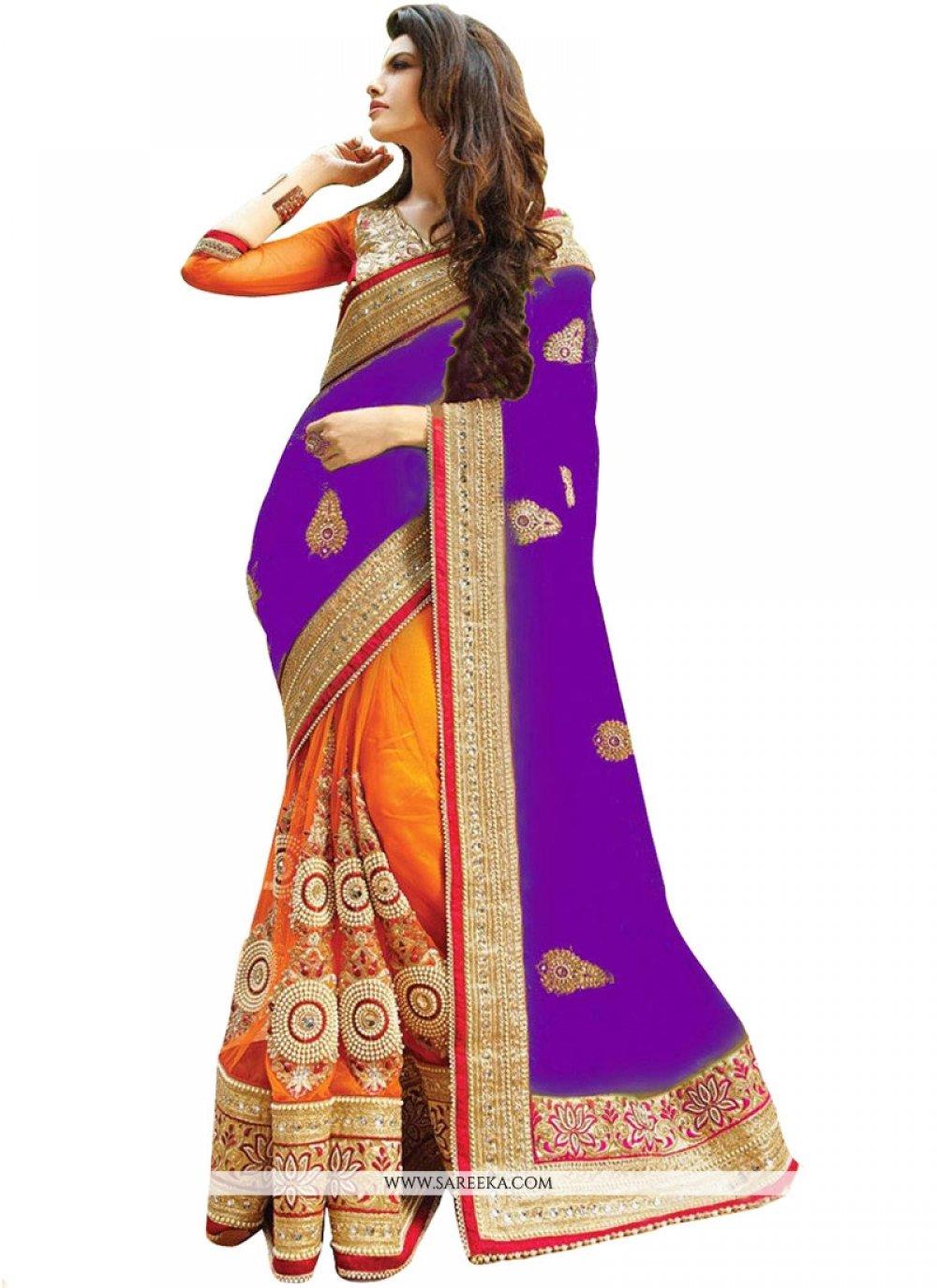 Orange and Purple Resham Work Half N Half Designer Saree
