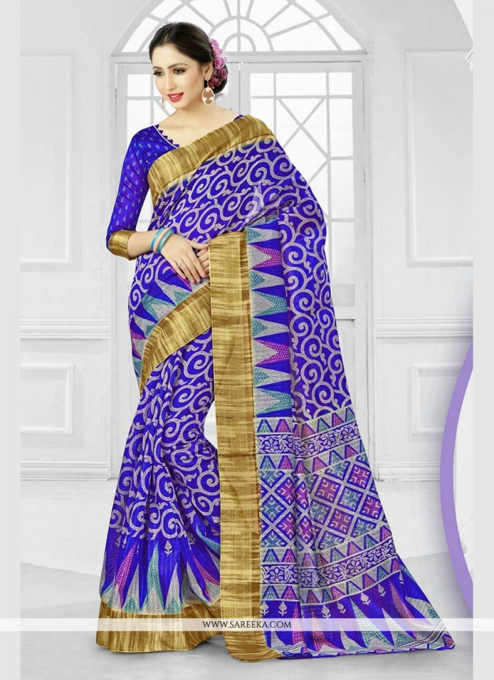 Silk Blue Print Work Printed Saree