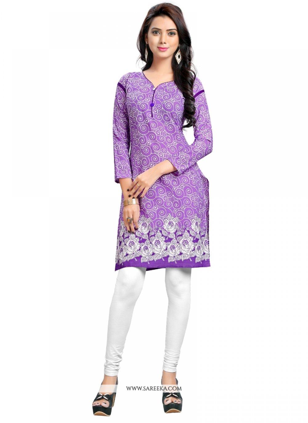 Purple Cotton   Party Wear Kurti