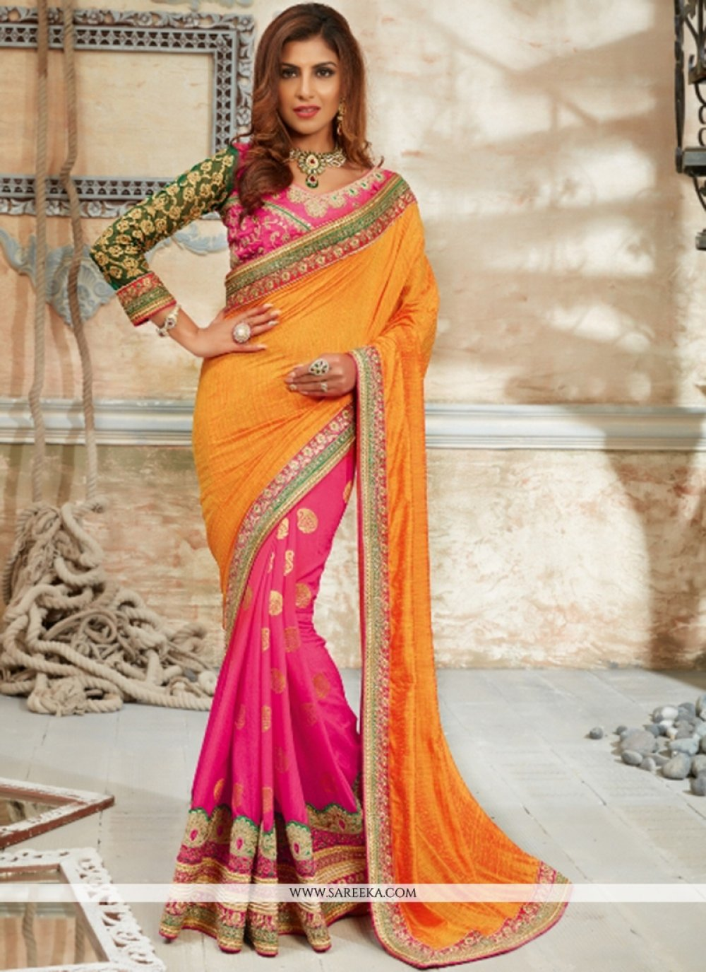 Georgette Hot Pink Traditional  Saree