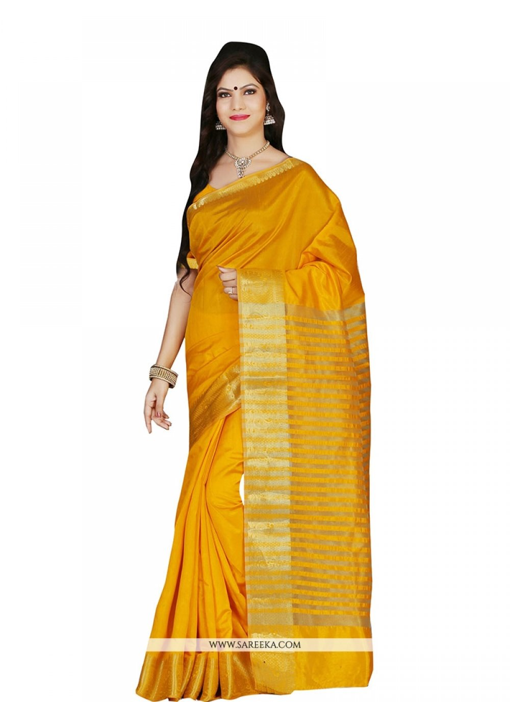 Mustard Art Silk Designer Saree