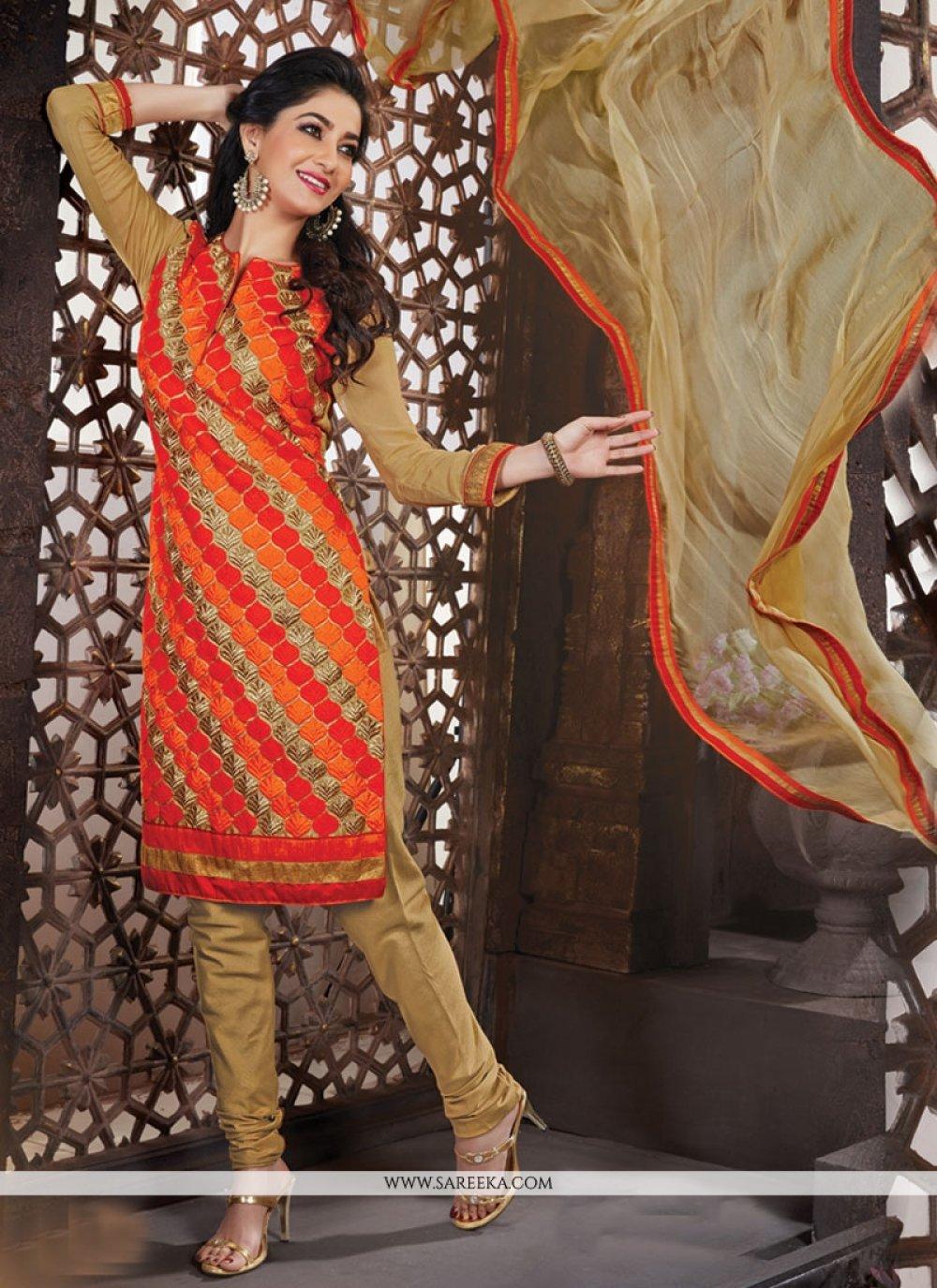 Orange and Red Lace Work Churidar Designer Suit