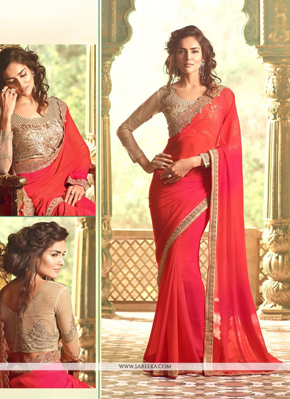 Red Embroidered Work Traditional  Saree