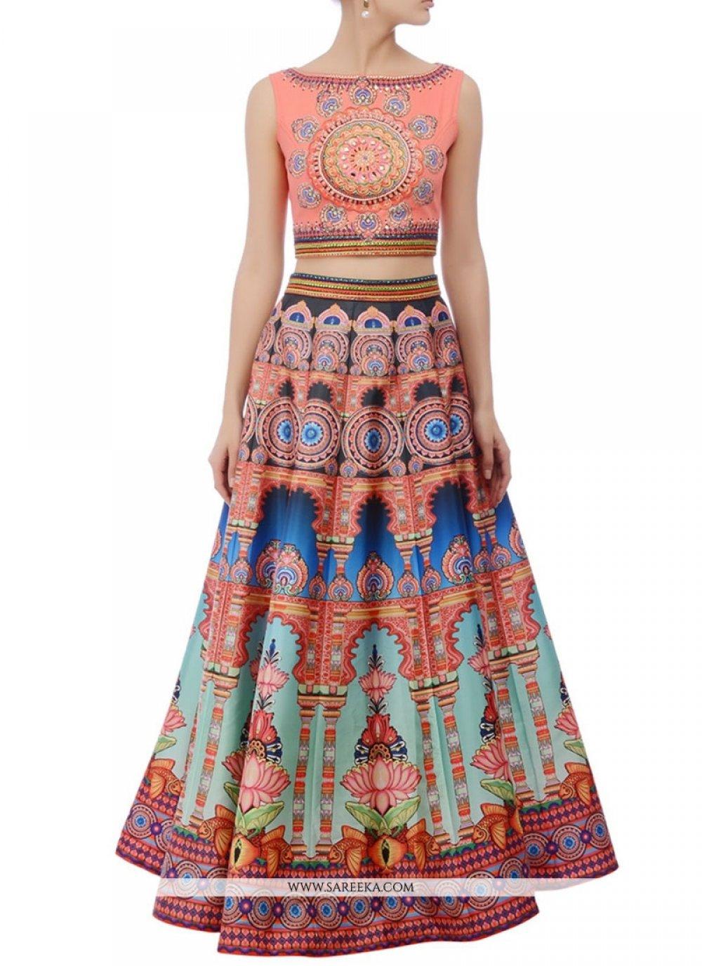 Art Silk Multi Colour A Line Replica Lehenga Choli