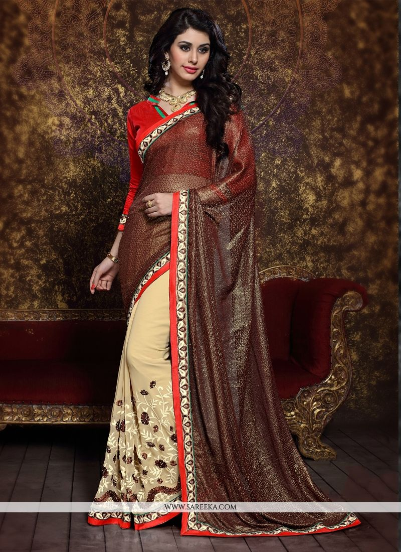 Beige and Brown Designer Half N Half saree