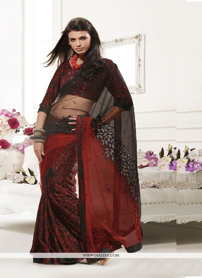 Black and Red Embroidered Work Net Designer Saree