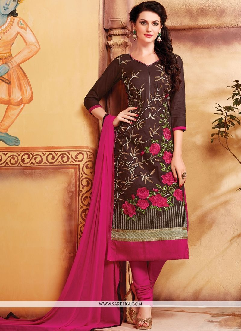 Buy Brown Cotton Churidar Designer Suit Online : France - Salwar ...