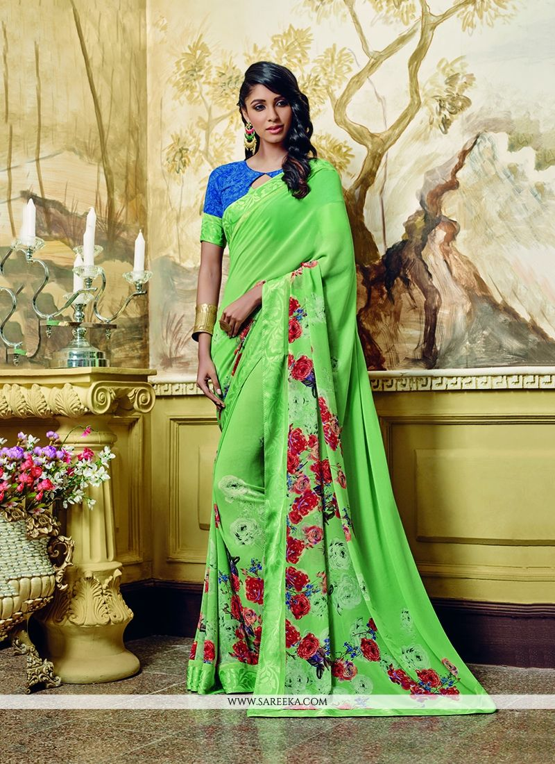 Green Print Work Georgette Printed Saree