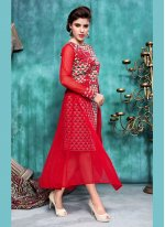 Red Banarasi Silk Party Wear Kurti