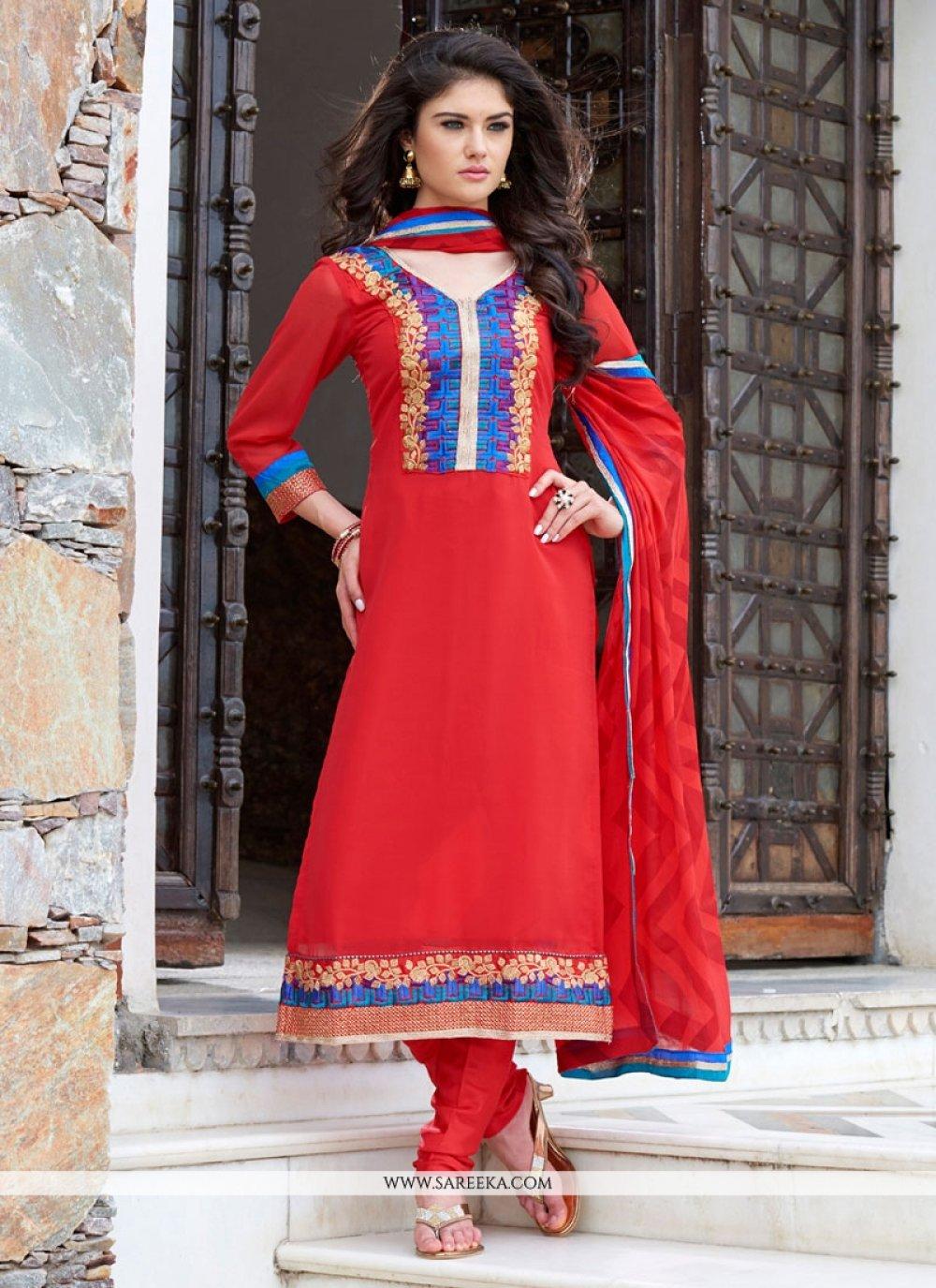 Red Georgette Churidar Designer Suit