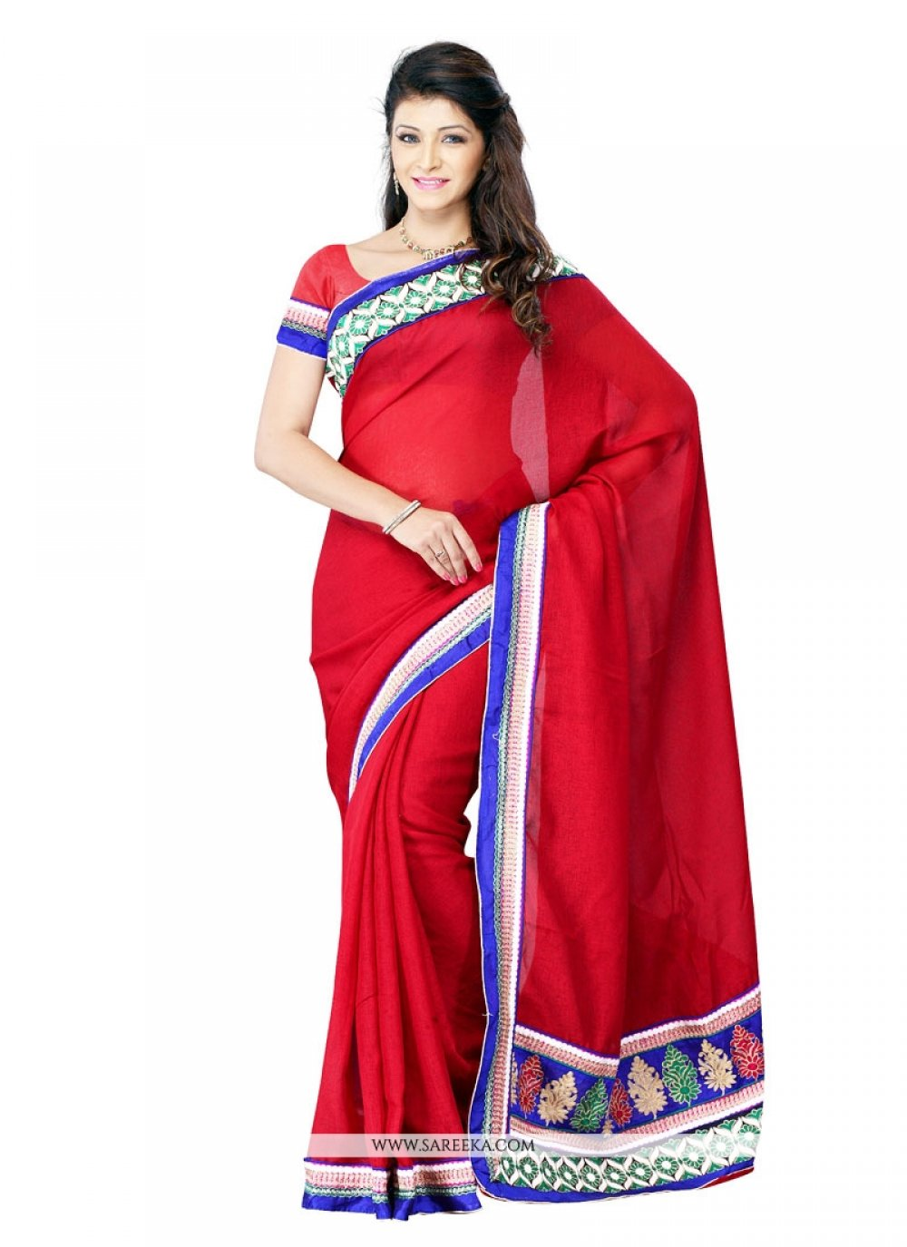 Red Patch Border Work Art Silk Designer Saree