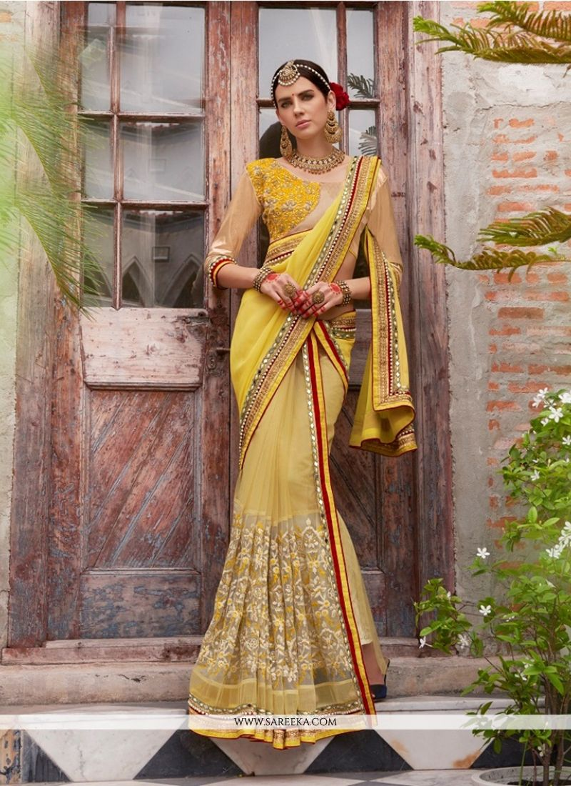 Embroidered Work Yellow Faux Chiffon Designer Saree