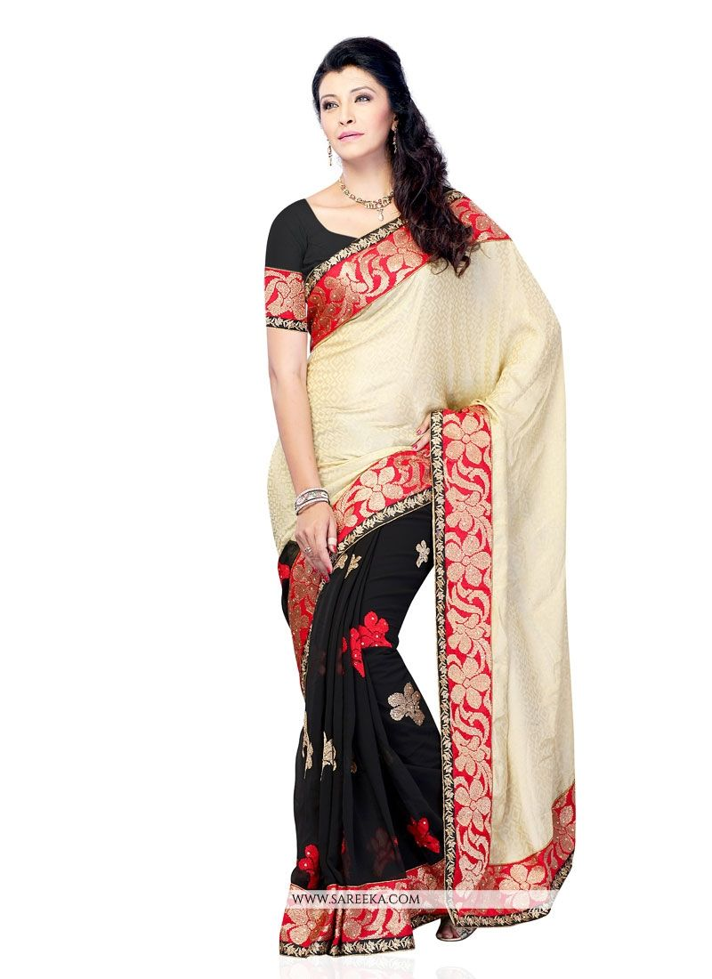 Patch Border Work Black Designer Saree