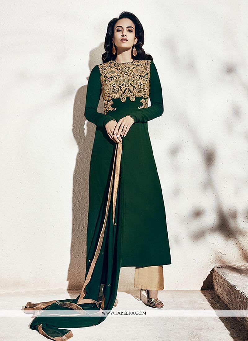 Georgette Green Designer Suit