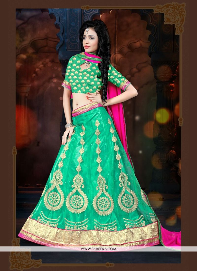 Sea Green A Line Lehenga Choli