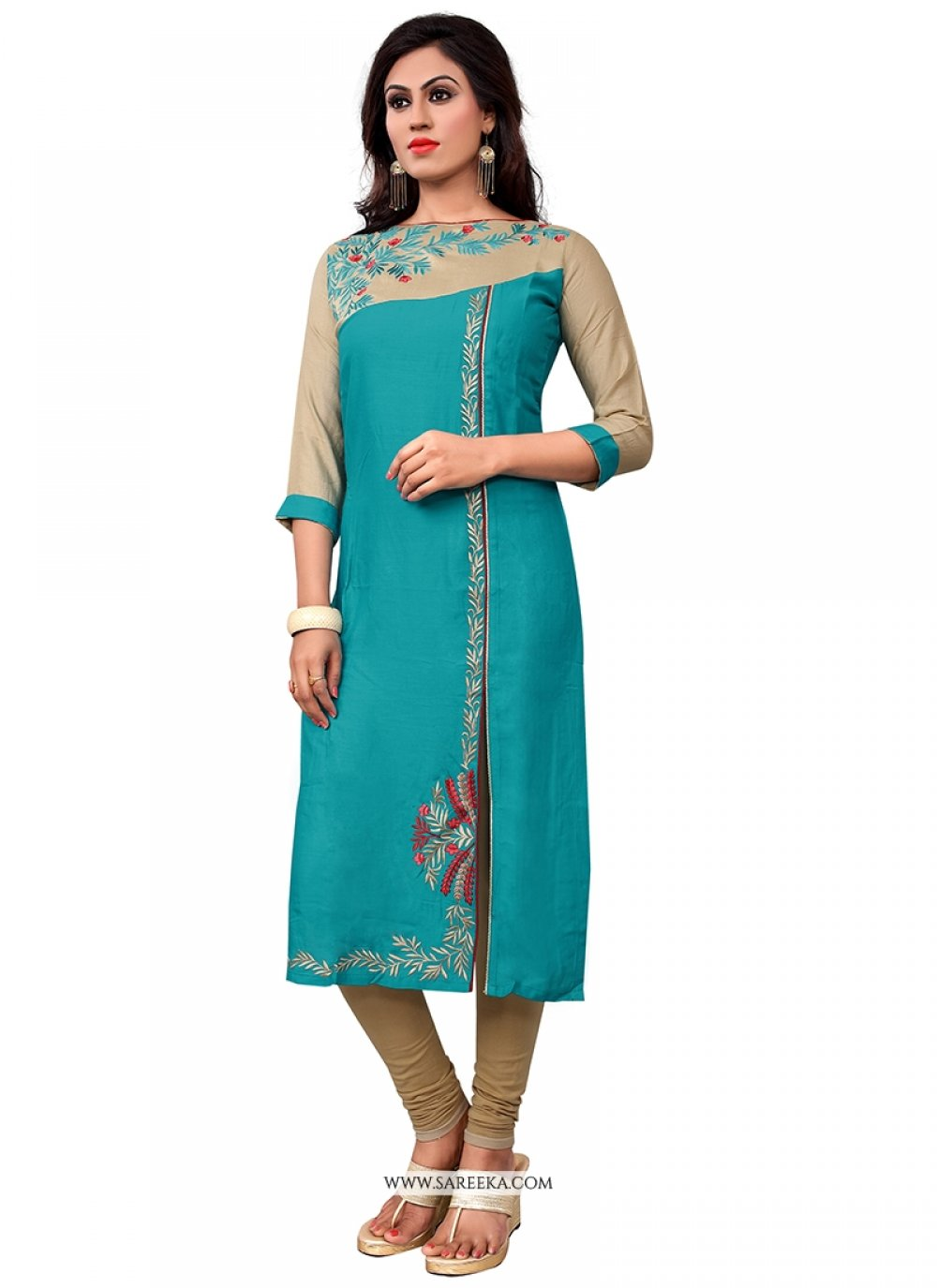 Turquoise Cotton   Party Wear Kurti
