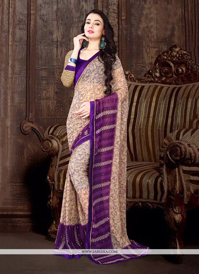 Beige Georgette Casual Saree