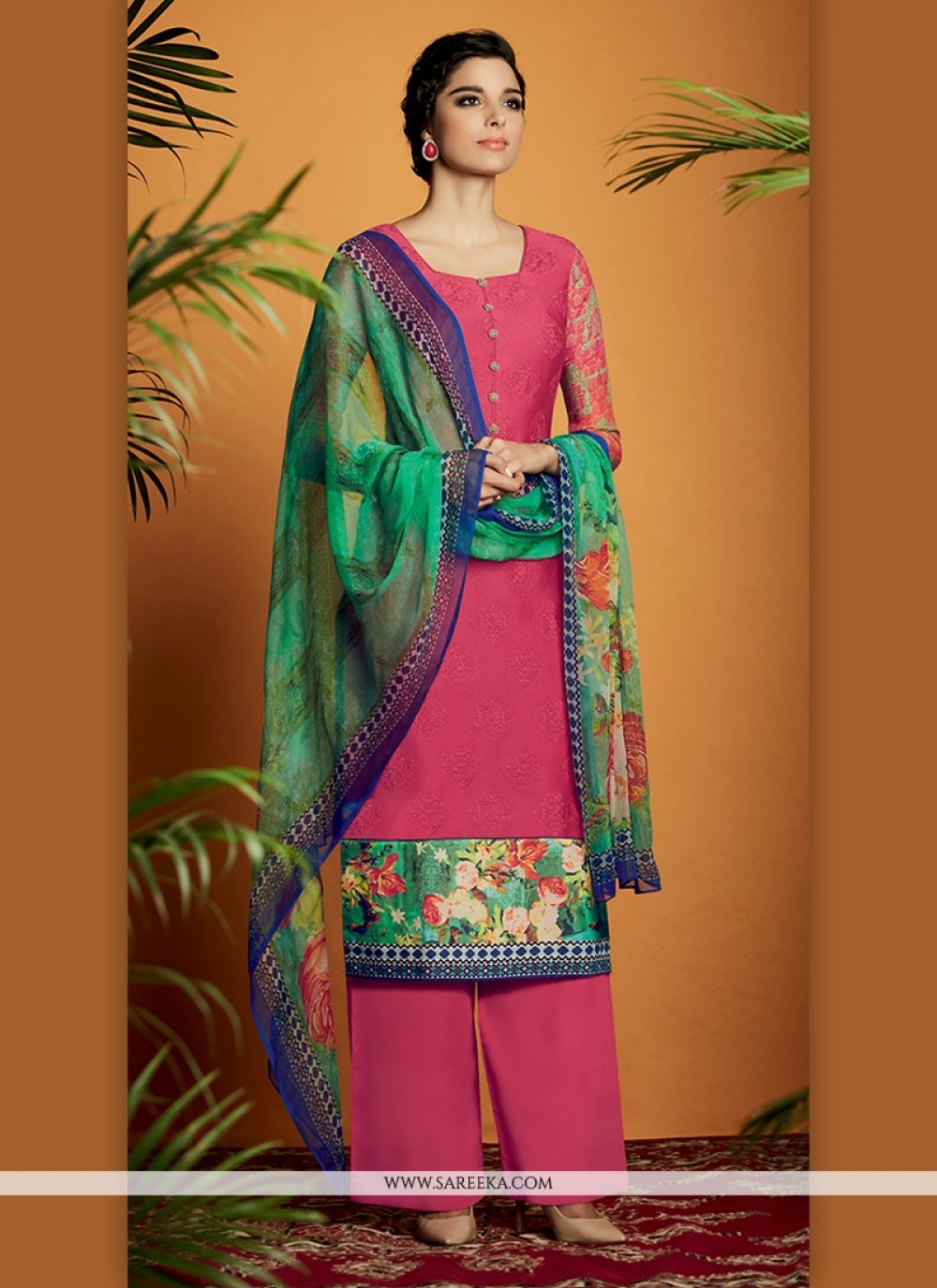 Cotton Satin Digital Print Work Designer Suit