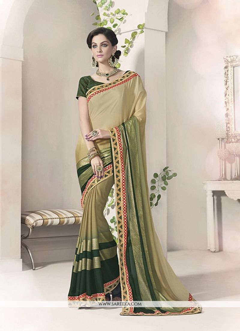 Silk Green Patch Border Work Designer Saree