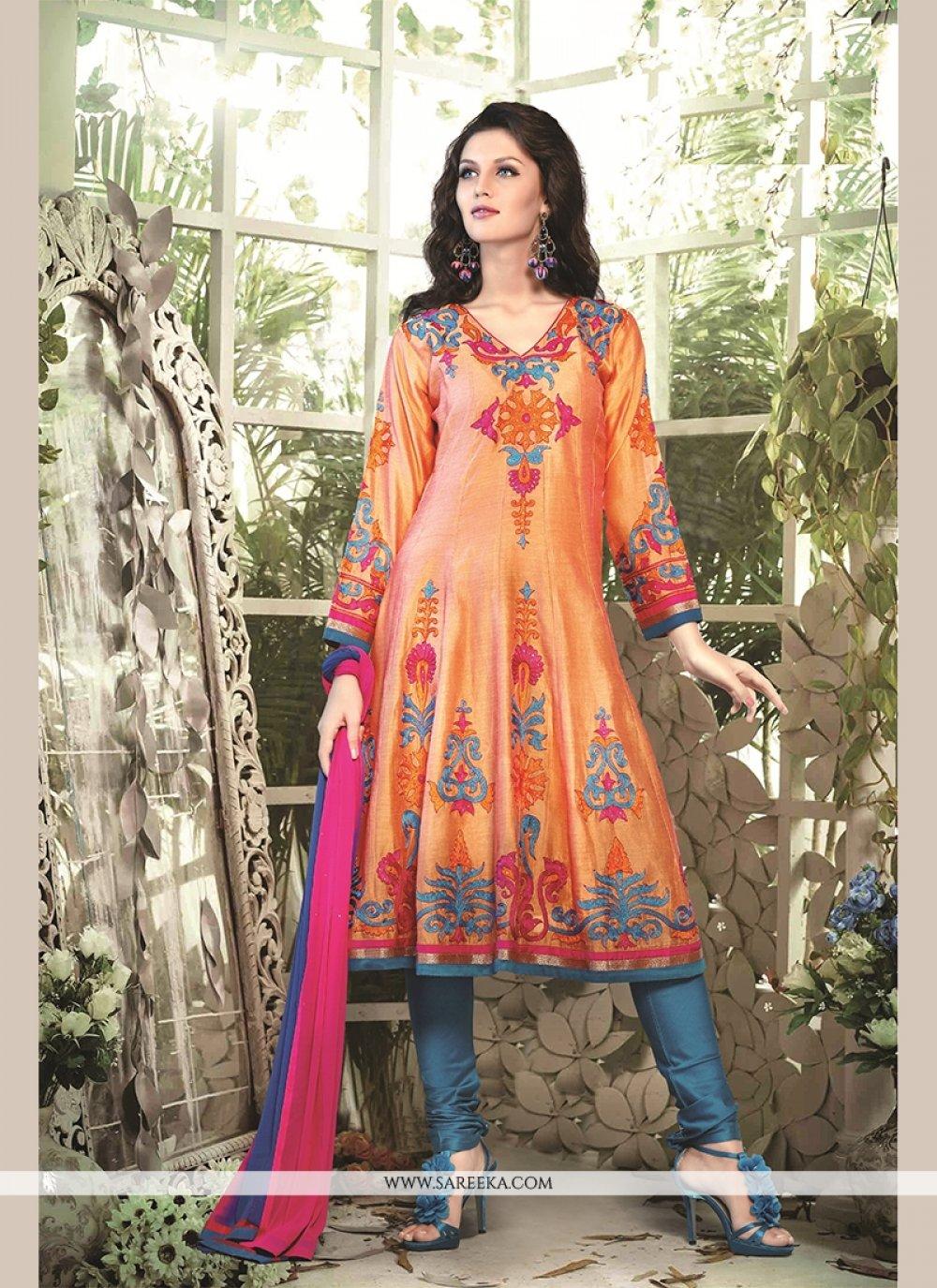 Resham Chanderi Cotton Readymade Suit in Orange