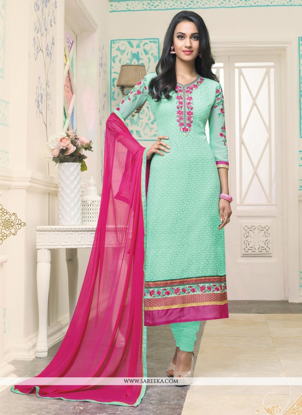 Resham Georgette Churidar Designer Suit in Sea Green