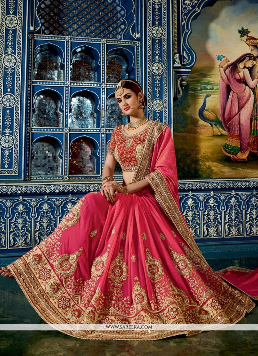 Crepe Jacquard Hot Pink Designer Half N Half saree