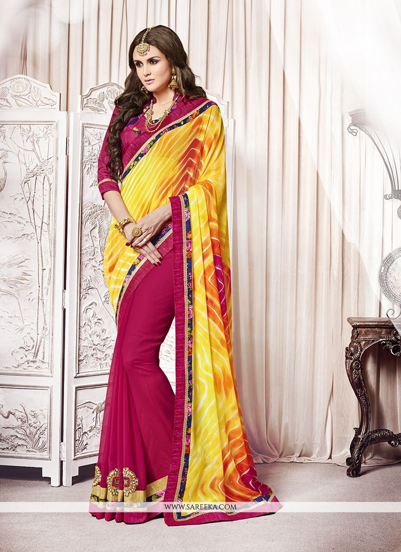 Magenta and Yellow Embroidered Work Designer Saree