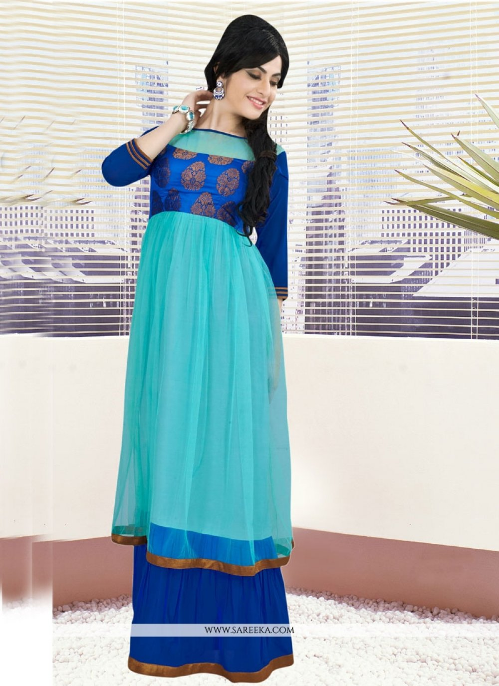 Embroidered Work Net Blue Gown