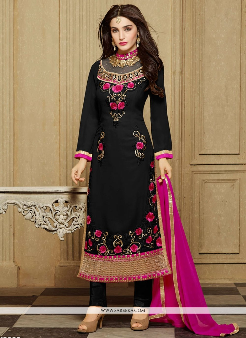 Black Patch Border Work Faux Georgette Designer Straight Salwar Kameez
