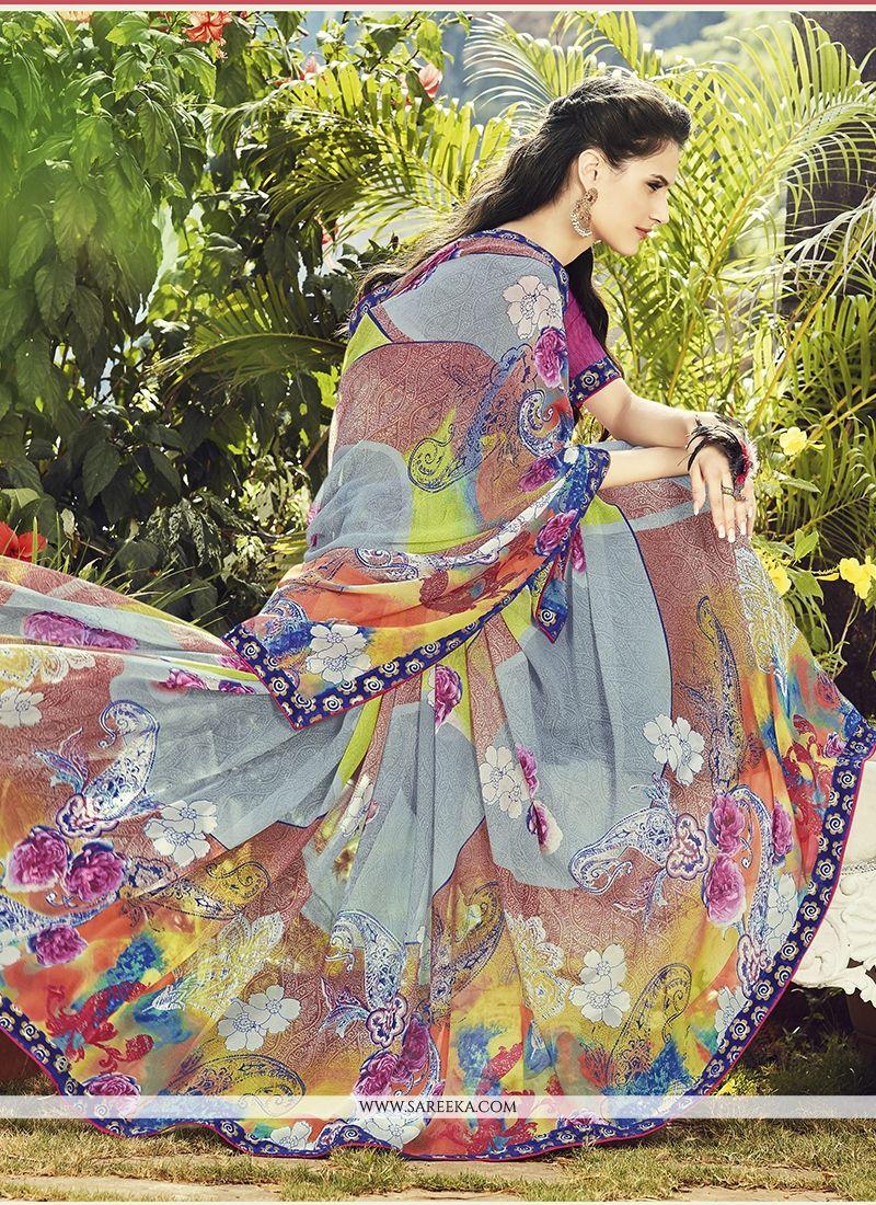 Georgette Multi Colour Print Work Casual Saree