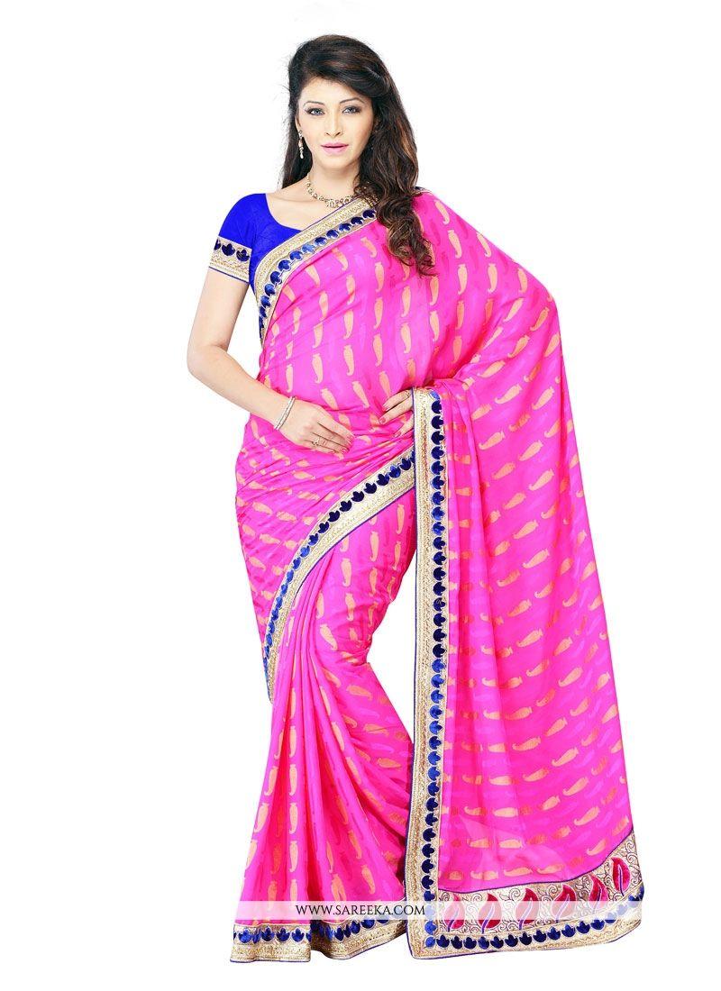 Crepe Jacquard Hot Pink Embroidered Work Designer Saree