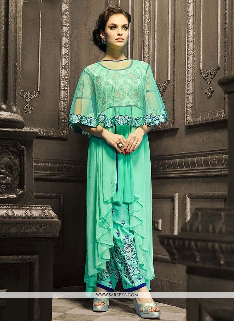 Buy Georgette Sea Green Pant Style Suit Online : South Africa -