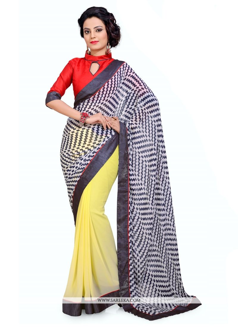 Print Work Georgette Casual Saree