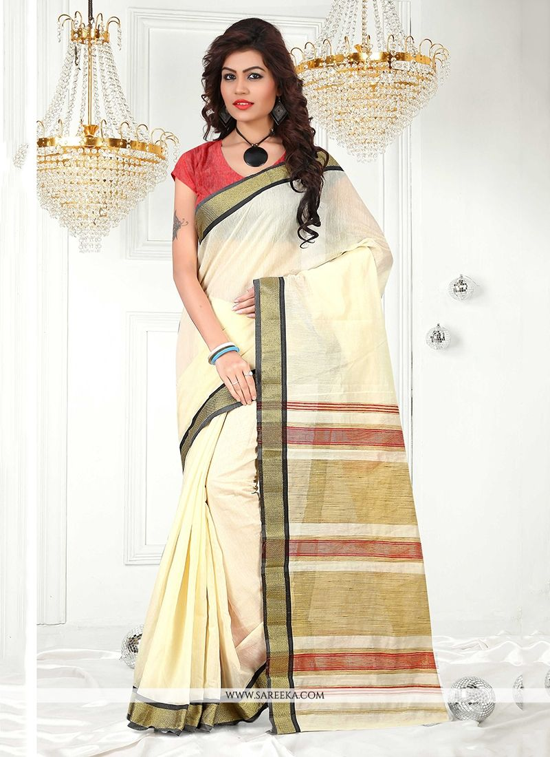 Cream Patch Border Work Cotton   Casual Saree