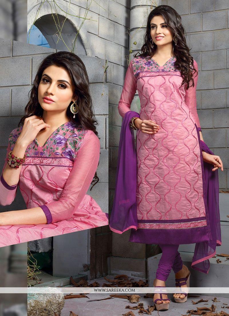Embroidered Work Chanderi Cotton Churidar Designer Suit
