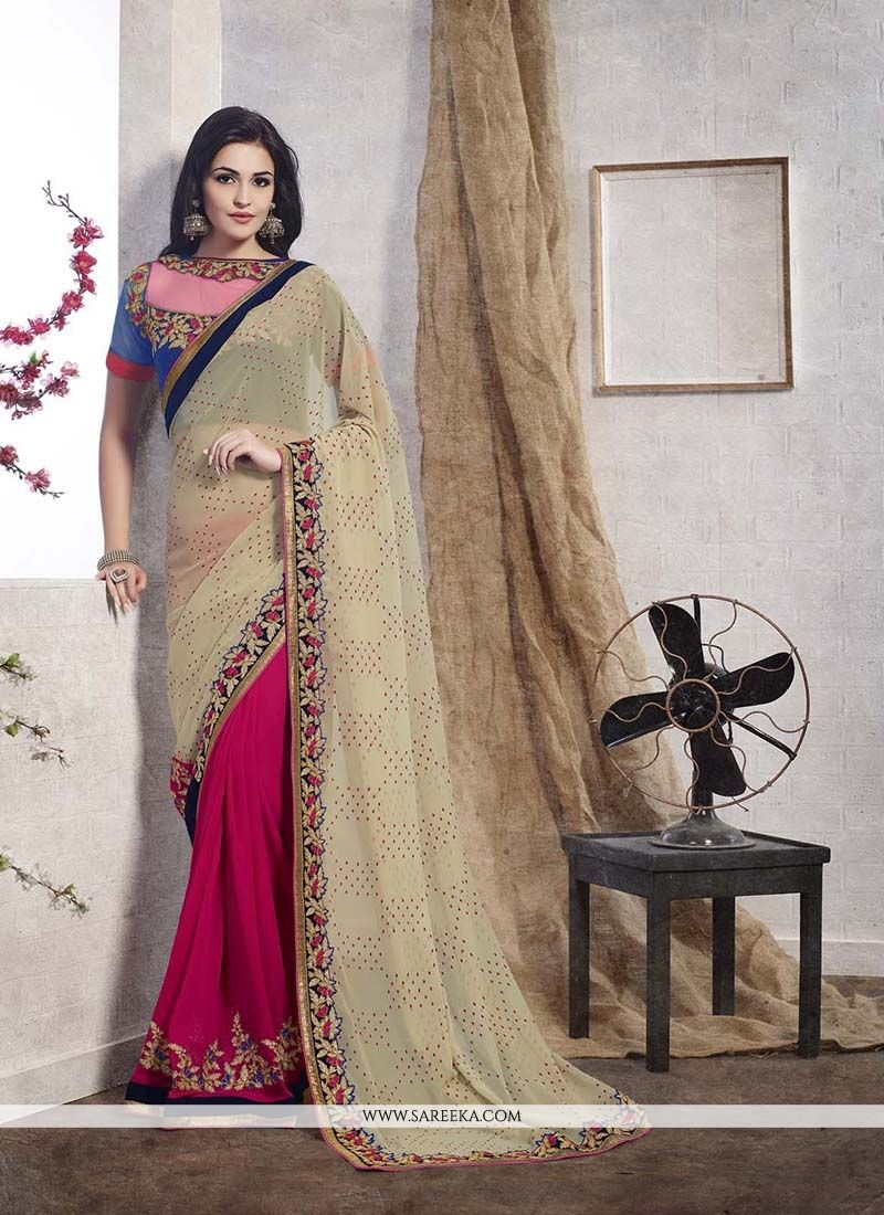 Jacquard Hot Pink Designer Saree