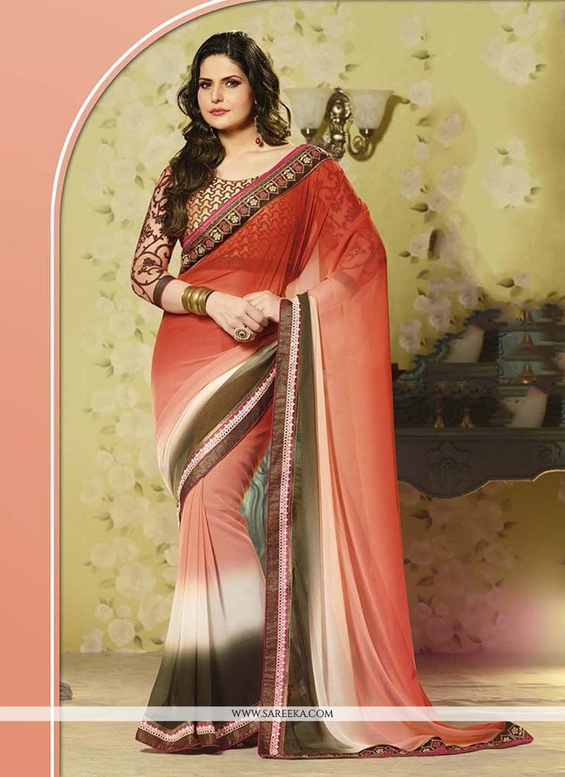 Patch Border Work Brasso Designer Saree