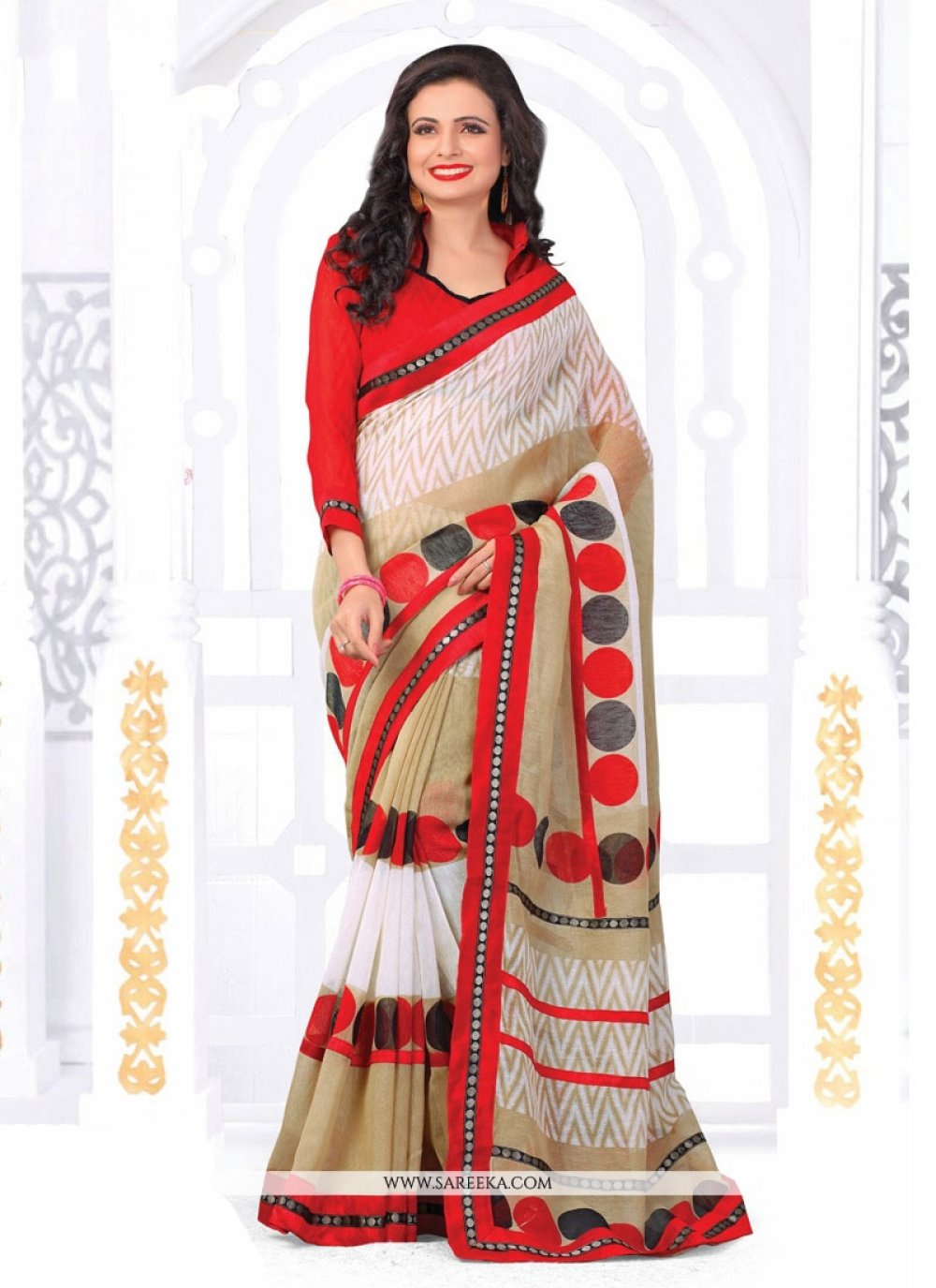 Print Work Beige, Off White and Red Casual Saree