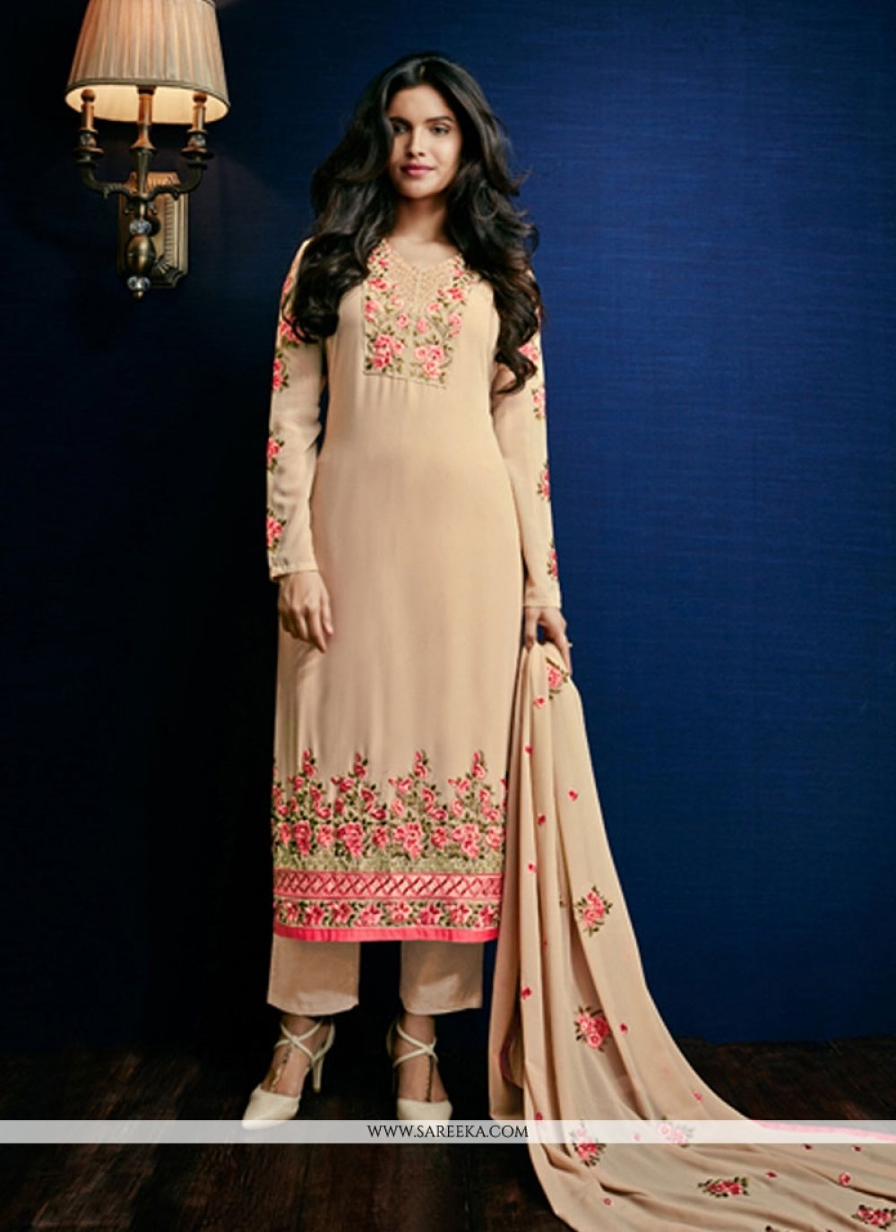 Beige Embroidered Work Georgette Pant Style Suit