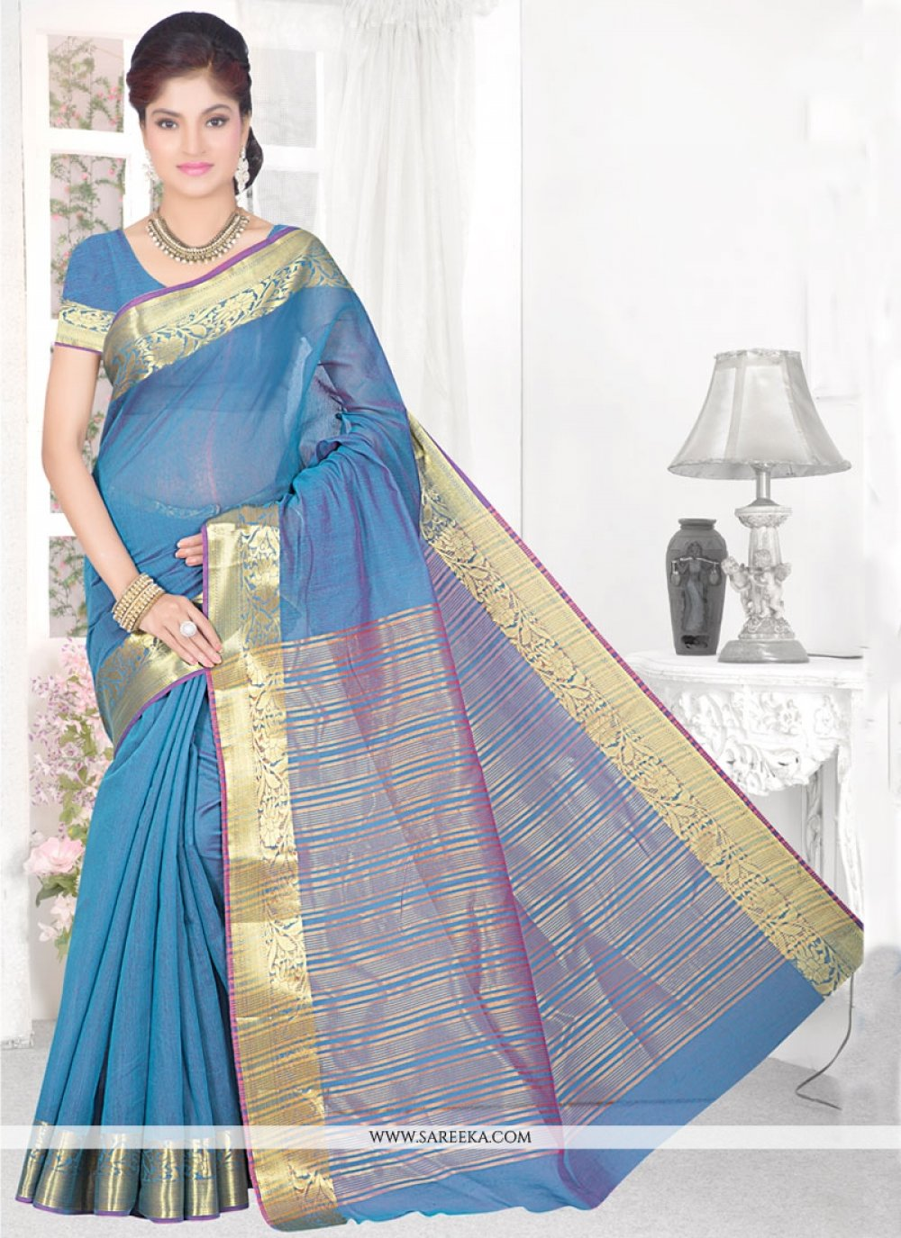 Cotton Silk Turquoise Casual Saree