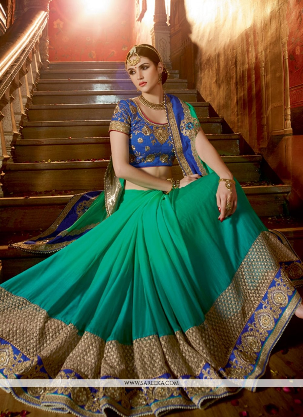 Fancy Fabric Patch Border Work Designer Half N Half saree