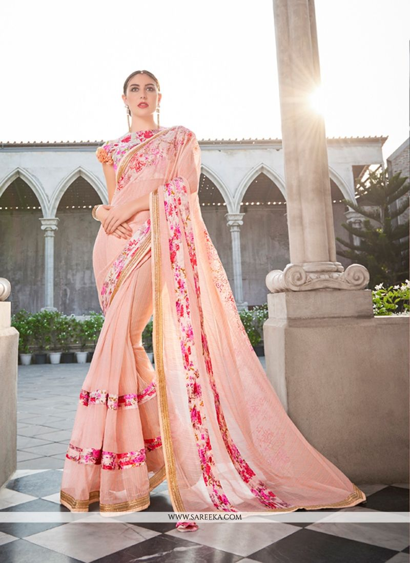 Peach Patch Border Work Classic Designer Saree