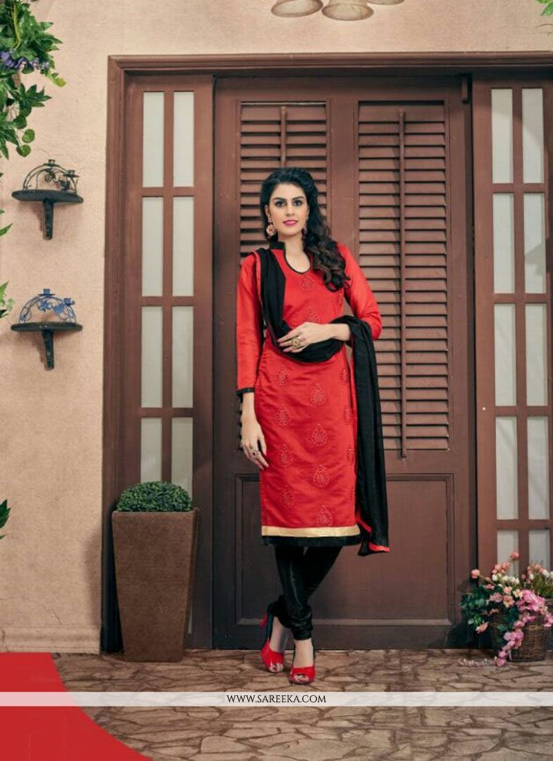 Red Churidar Designer Suit