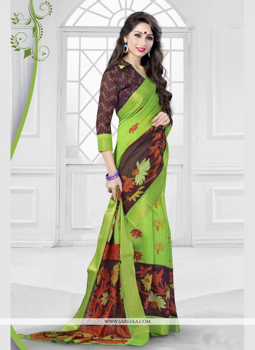 Silk Print Work Printed Saree