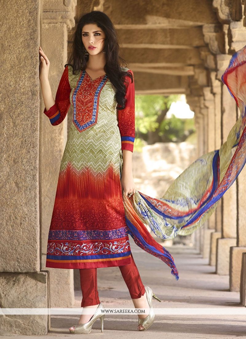 Embroidered Work Cream and Red Cotton   Churidar Designer Suit