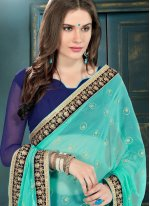 Navy Blue Faux Georgette Designer Saree