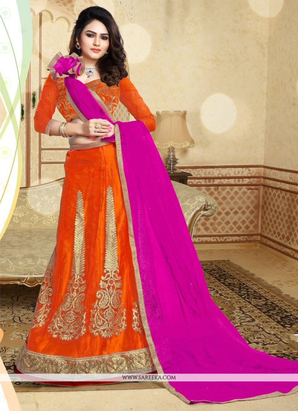 Patch Border Work Orange and Pink Designer A Line Lehenga Choli