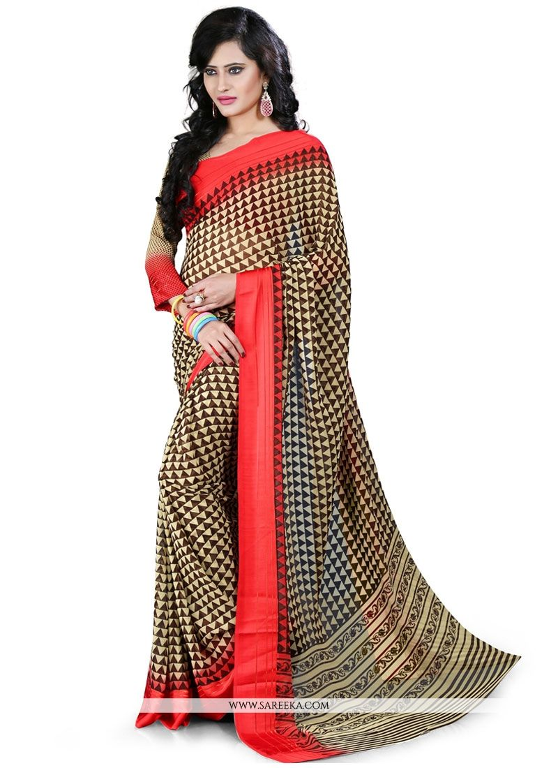 Beige and Red Patch Border Work Casual Saree