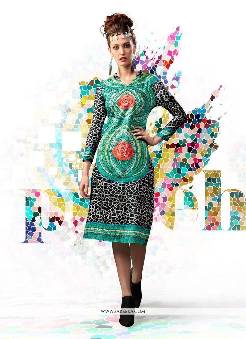 98a189028f Buy Digital Print Work Cotton Satin Designer Kurti Online   Malaysia -